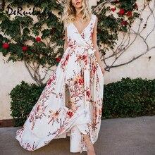 DeRuiLaDy Boho Floral Print Vintage Long Dress Sexy V Neck Dleeveless Women Maxi Dresses Summer Split Beach Party Dress Vestidos