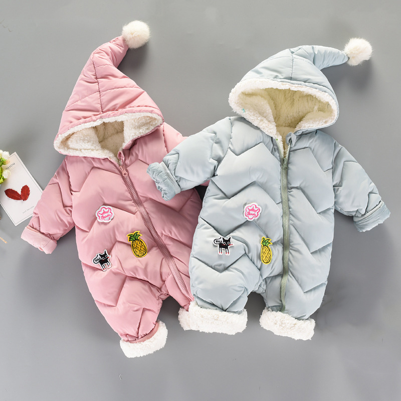 fashiong cute Baby Winter Girls Boys Clothes Warm Fleece Velvet Newborn Baby   Romper   Infant Costume clothing