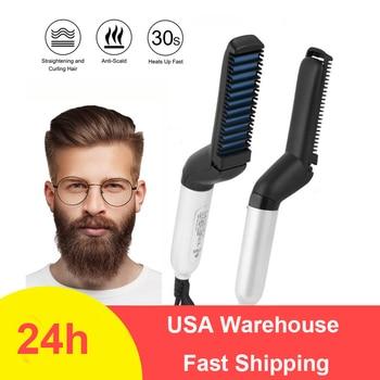 Men Quick Beard Straightener Styler Comb Multifunctional Hair Curling Curler Show Cap Tool Electric Hair Styler for Men 1