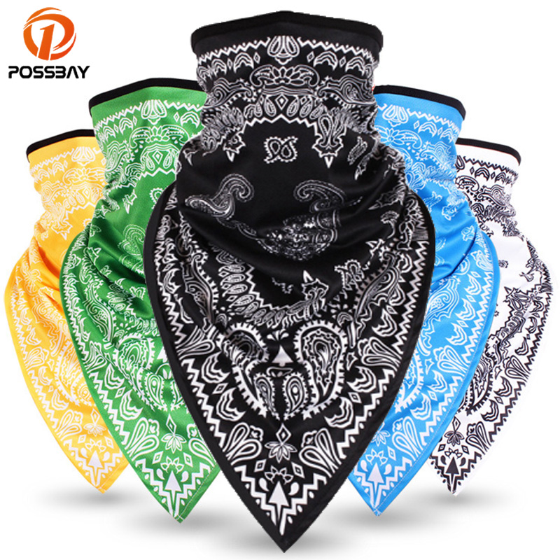 POSSBAY Windproof Moto Mask Motorcycle Half Face Printing Mask Balaclavas Ski Neck Triangle Scarf Outdoor Breathable Face Shield