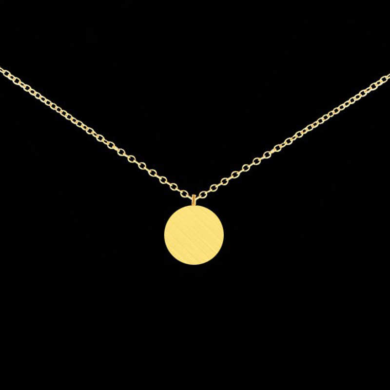 Mini Disc Coin Colares Necklaces Pendants Lucky Charm Women Circle Karma BFF Jewelry Gold Color Choker Friendship Necklace Gifts