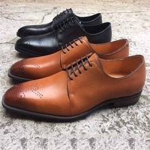 Genuine Leather Brown Dress Brogue Shoes