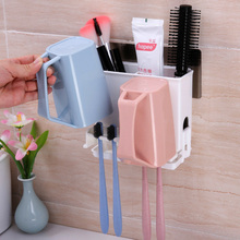 Multifunctional Toothbrush Holder Storage Box Bathroom Kitchen Family Wall Stand Toiletries Toothpaste Makeup Rack