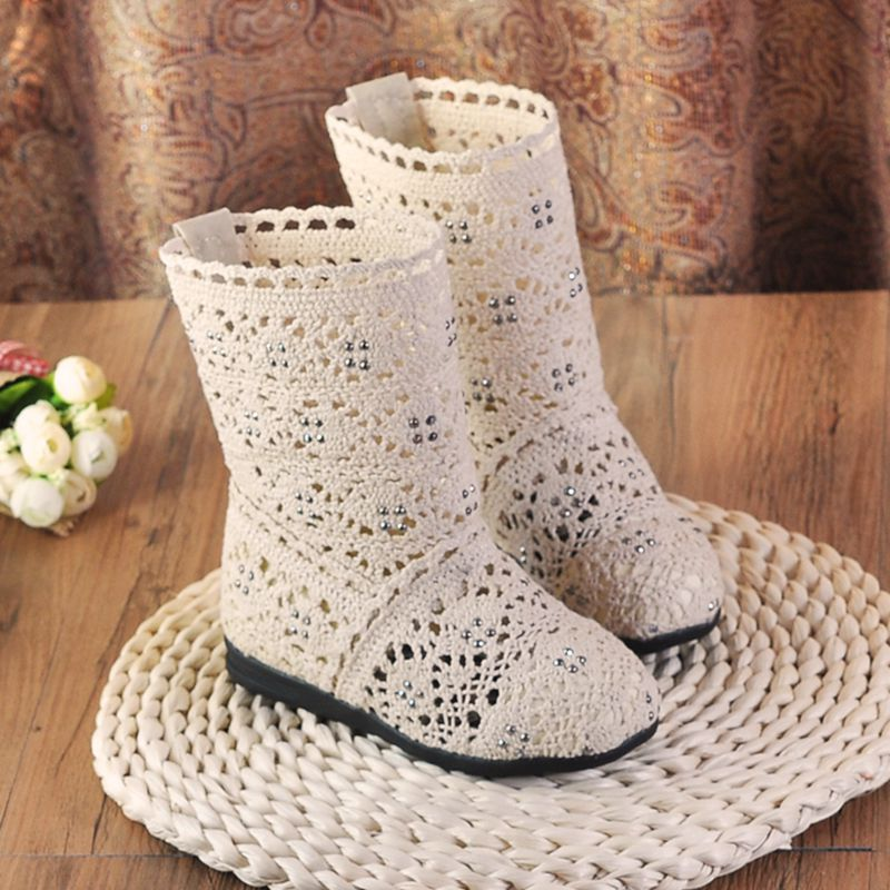Baby Girls Boots Lace Princess Toddler Knitted Boots Flat Heel Shoes Spring Autumn Cut Out Hollow Boots Girls Shoes TX244 недорго, оригинальная цена