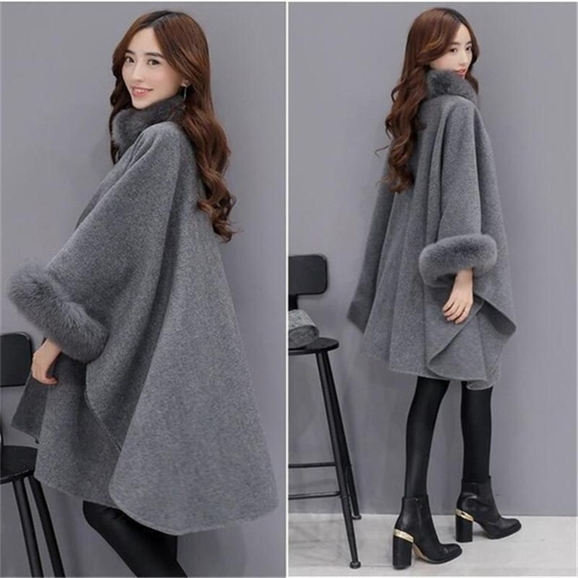 Bigsweety 2018 Winter Womens Cloak Big Fur Collar Plus Size Wool Coat Long Winter Jackets Parka Coats Outerwear 3