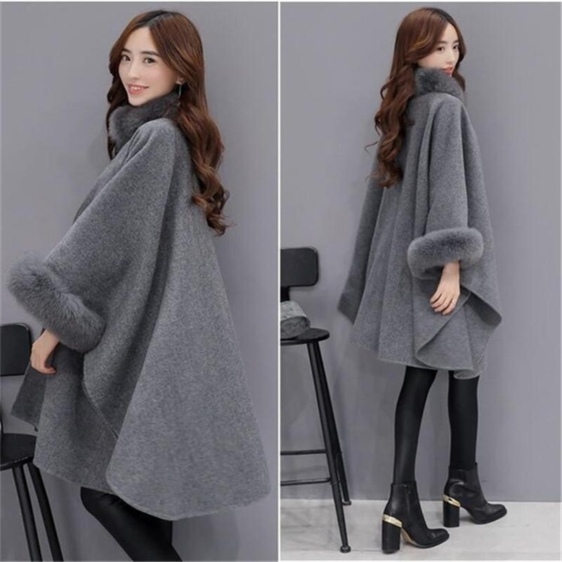 12e104ef23a2b Bigsweety 2018 Winter Womens Cloak Big Fur Collar Plus Size Wool Coat Long  Winter Jackets Parka Coats Outerwear-in Wool   Blends from Women s Clothing  on ...