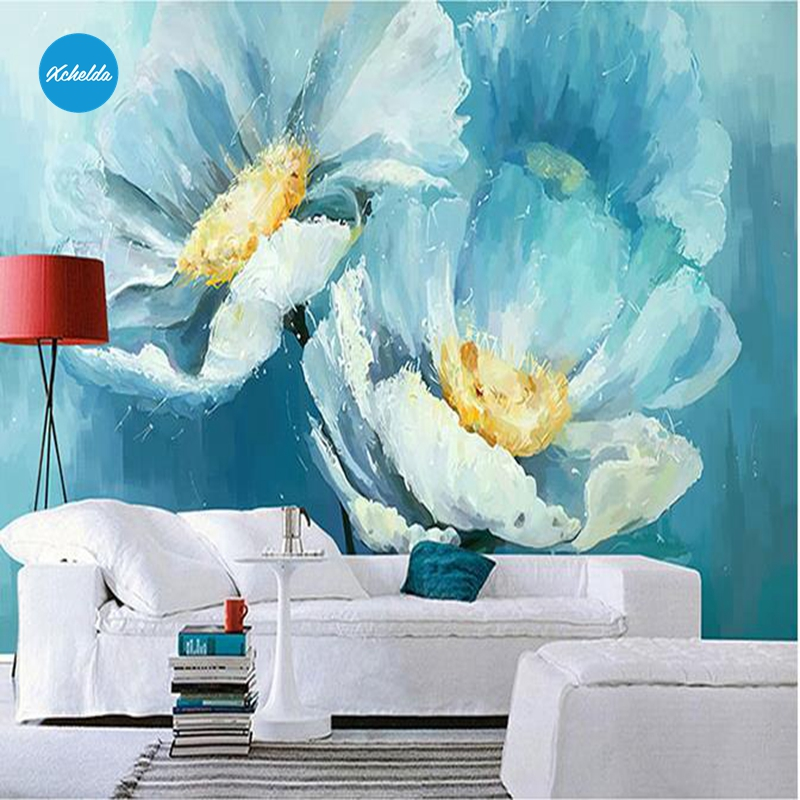 XCHELDA Custom 3D Wallpaper Design Blue White Lotus Photo Kitchen Bedroom Living Room Wall Murals Papel De Parede Para Quarto kalameng custom 3d wallpaper design street flower photo kitchen bedroom living room wall murals papel de parede para quarto