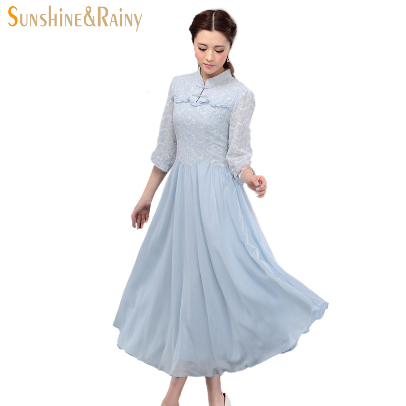 Stand Collar Dress Designs : Summer dress literary flowers embroidered lace