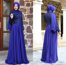 New Turkish Muslim Evening Dresses Hijab Long Sleeves Lace Chiffon Floor Length Royal Blue Formal Party Gowns Vestido De Festa