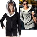 2014 Korea Women Hoodies Coat Warm Zip Up Outerwear Sweatshirts 5 Colors free shipping WL0004