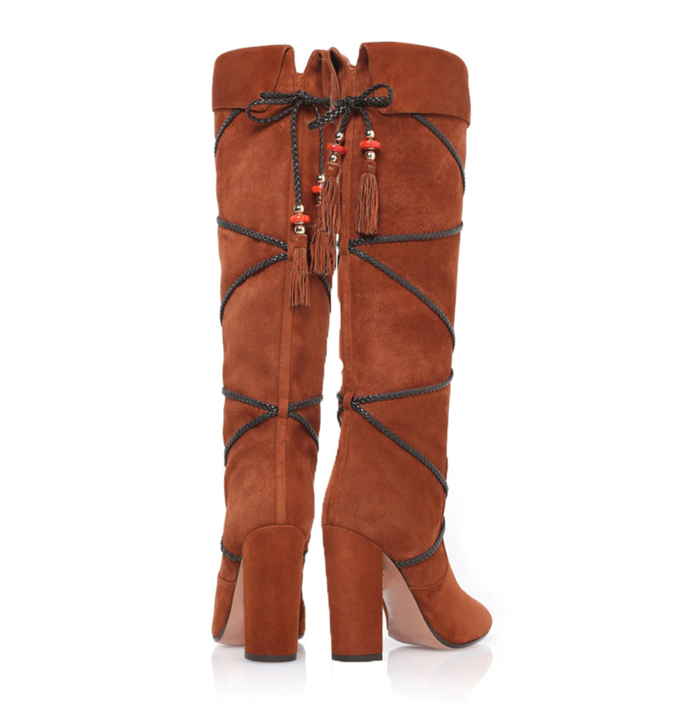 Designer Brown Black Block Heeled Winter Knee High Boots Women Pointed Toe Gladiator Fringe Tassel Booty Plus Size 43 tassel suede leather knee high women winter boots fashion folded design tassel block heeled booty