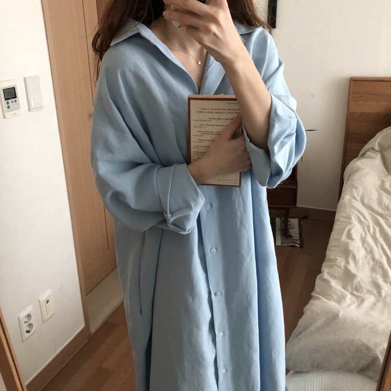Blue Long Sleeve Long Shirt Dress Spring Casual Patchwork White cotton Dresses Collar Buttons Loose Dresses Robe Femme Vestido 33
