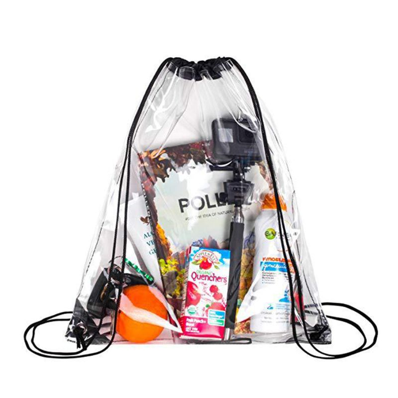 New Transparent Drawstring Backpack Cinch Sack School Tote Gym Bag Sport Pack 33 X 43cm