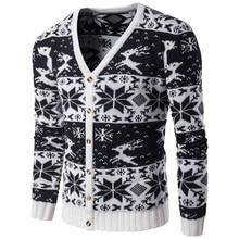 Sweater Men 2017 Brand Cardigan Casual Christmas Sweater Male O-Neck Deer Knit Long Sleeve Pullovers knitwear zipper cardigan