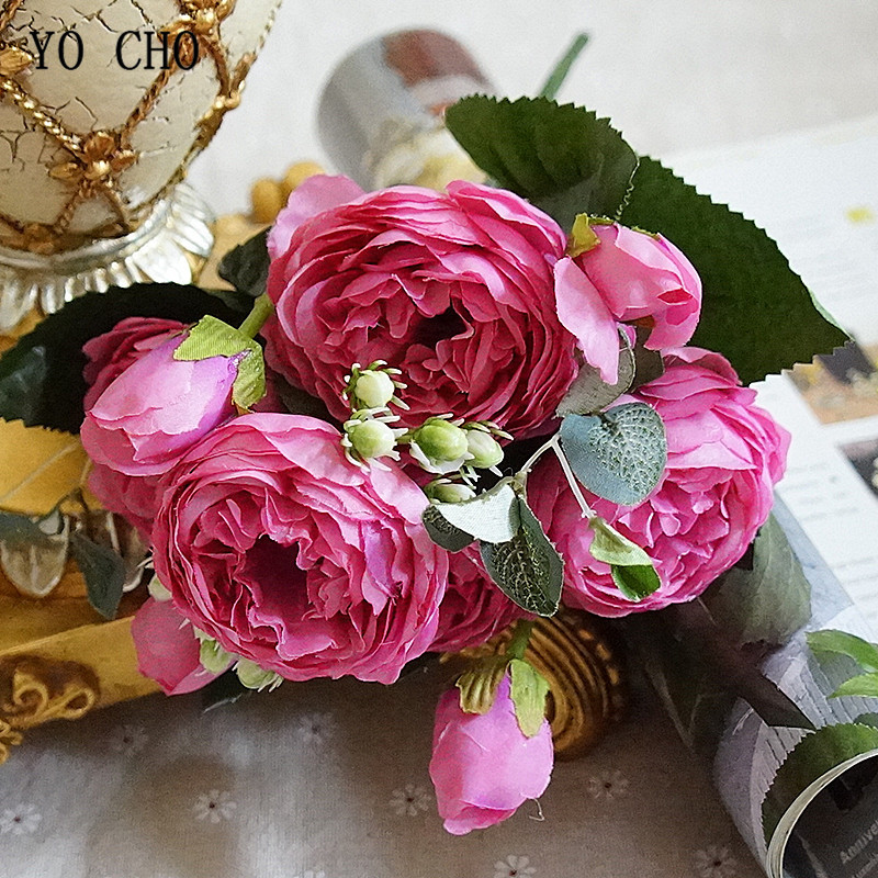 Beautiful Rose Peony Artificial Silk Flowers small bouquet flores home party spring wedding decoration mariage fake Flower (25)