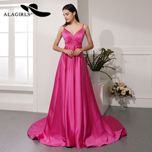 Alagirls Sexy V-Neck Evening Dress 2019 A line Backless Evening Gown vestido longo New Arrival Prom Dresses Formal Woman Dress