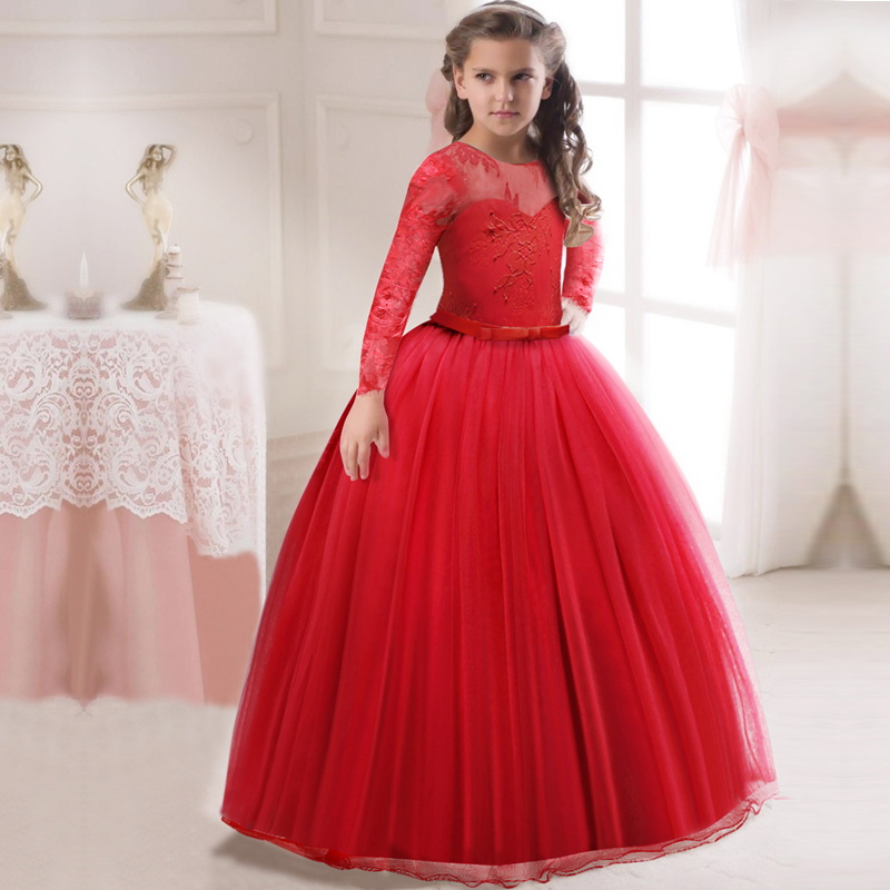 Red Wedding Dresses For Little Girl Long Ball Gowns Girls Children Pregnant Dress Infantil Vestidos For Teenagers 5 8 12 14 Yrs аккумуляторная воздуходувка greenworks 24v g24ab без аккумулятора и зарядного устройства