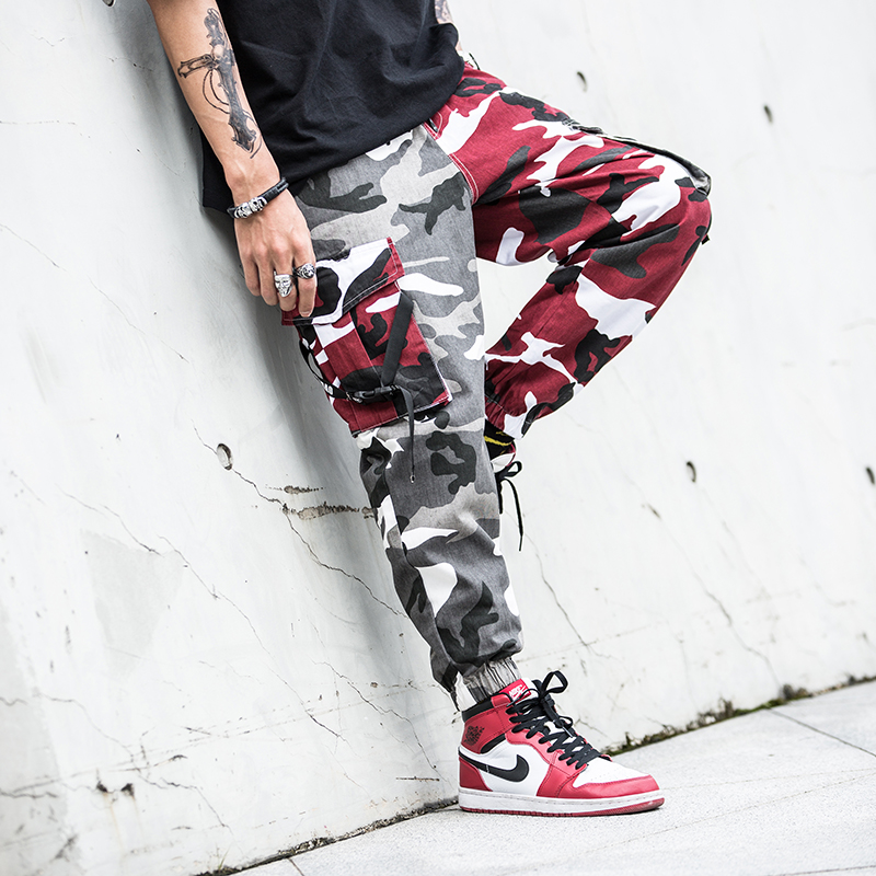 Japanese Style Casual Men Joggers Pants Military Big Pocket Cargo Pants Hombre Red Gray Spliced Camouflage Fashion Hip Hop Pants