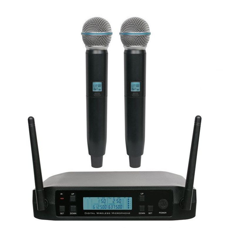 Dual Wireless Microphones System with Receiver Box Various Frequency Professional UHF Long Range 2 Handheld Mic Stage Live Show slx24 beta58 uhf wireless microphones only one microphone no receiver slx2