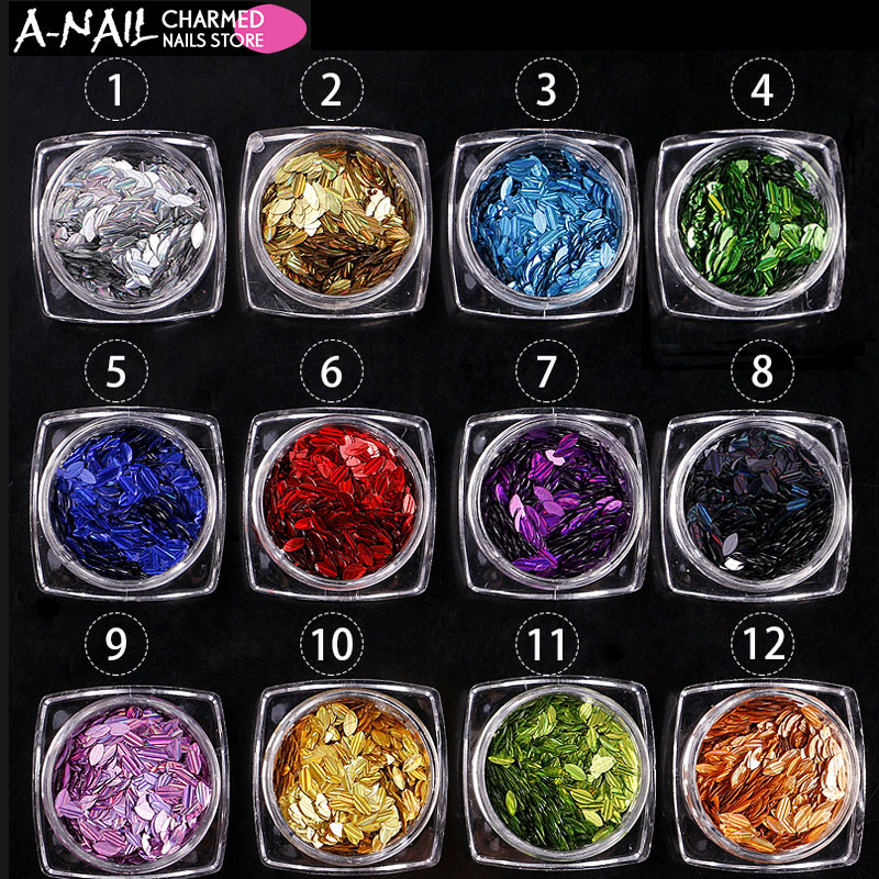12boxes/set holographic Nail flakes Embossed Sequins HOLO Leaf Sheets UV Gel nail Tips Paillette Manicure Nail Art Decoration 12jars set star shaped holo nail sequins multicolor acrylic confetti rainbow paillette laser nail flakes 3d nail art decoration