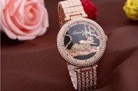 New Brand Sexy Women Rotated Leopard Full Steel Watches Luxury Full Crystals Dress Wrist watch Vogue Bracelet Clock Montre femme