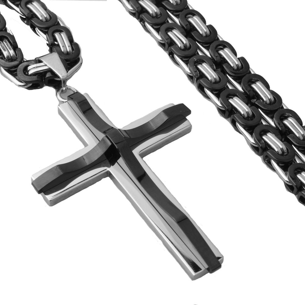 Christian Jesus Crucifix Pendant Necklaces Mens Gifts Heavy Stainless Steel Byzantine Link Chains Male Metal Religious Jewelry in Chain Necklaces from Jewelry Accessories