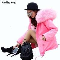 Высокое качество Марка Плюс Размеры Новинка 2017 зимняя куртка, пальто женские натуральной большой из меха енота парка с капюшоном женские то