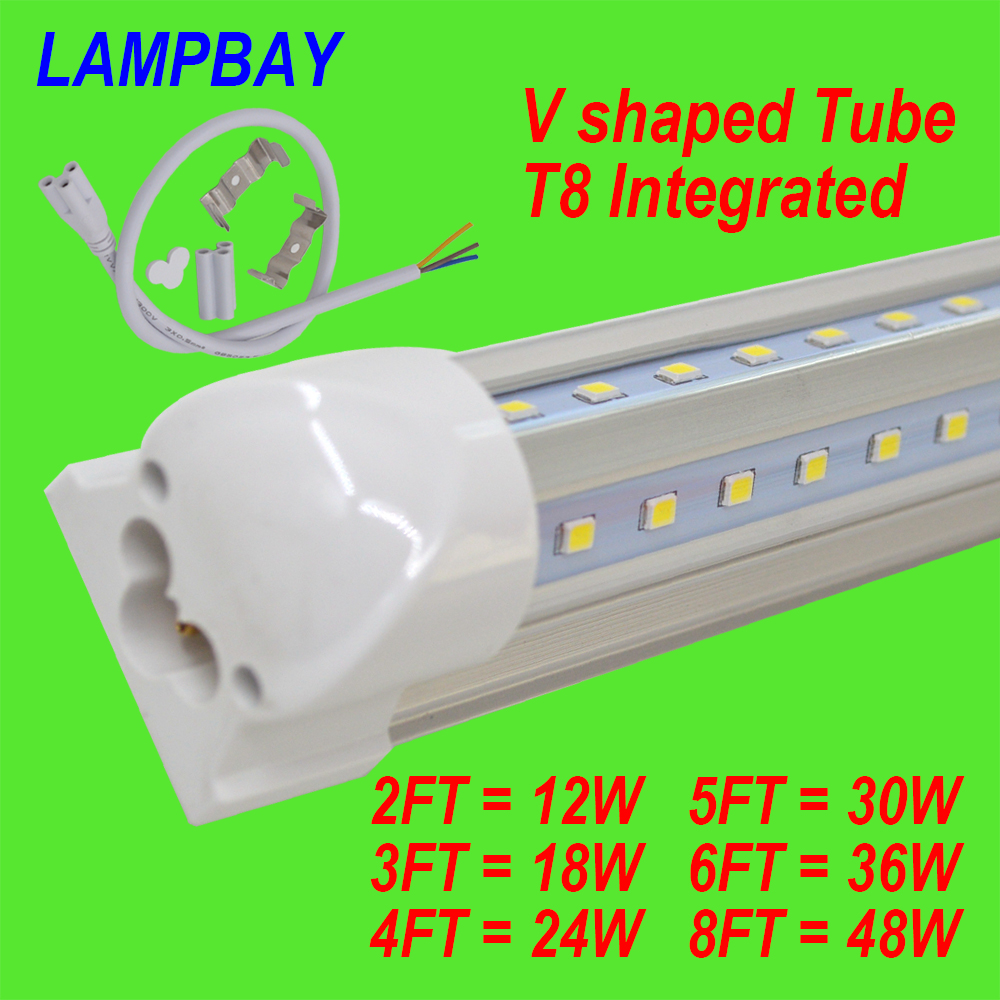 (4 Pack) Free Shipping LED Tube T8 Integrated V shaped with accessory 270 angle lamp 4FT=24W 5FT=30W 6FT=36W 8FT=48W 85-277V 4 pack free shipping t5 integrated led tube lights 5ft 150cm 24w lamp fixture with accessory milky clear cover 85 277v
