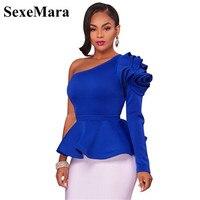 SexeMara Skew Collar One Shoulder 3d Ruffle Blouse Sexy Women Tops Long Sleeve Vintage Winter Blouses