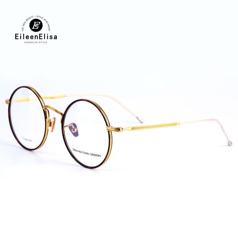 7d07fe8baa91a 2017 EE Marca Armações de Óculos Rodada Do Vintage Material de Titânio  Armações De Óculos para