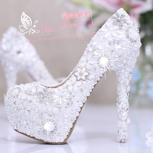 Bride pearl water drill flower white wedding shoes super heel waterproof platform wedding dress single shoe adult female shoes цены