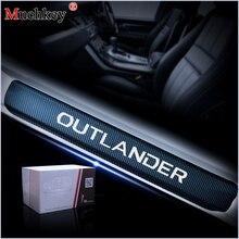 Car Styling 4D naklejki z włókna węglowego próg drzwi samochodu Protector płyta chroniąca przed zarysowaniem próg drzwi straż dla Mitsubishi samochód OUTLANDER akcesoria