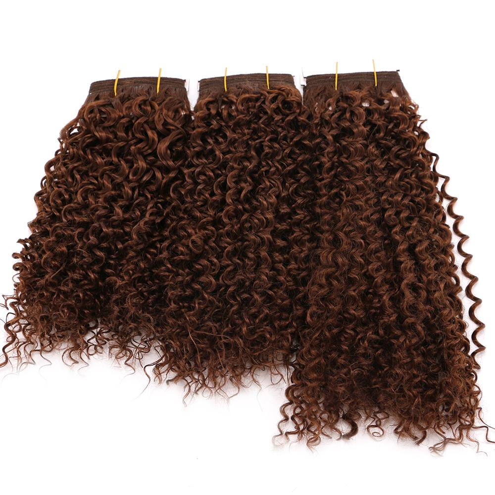 8-20 inch Short curly hair bundles high temperature kinky curl hair extension for black women(China)
