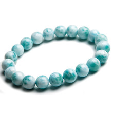 Just One Strand 9mm Genuine Natural Blue Larimar Stretch Bracelets For Women Femme Charm Round Beads Jewelry