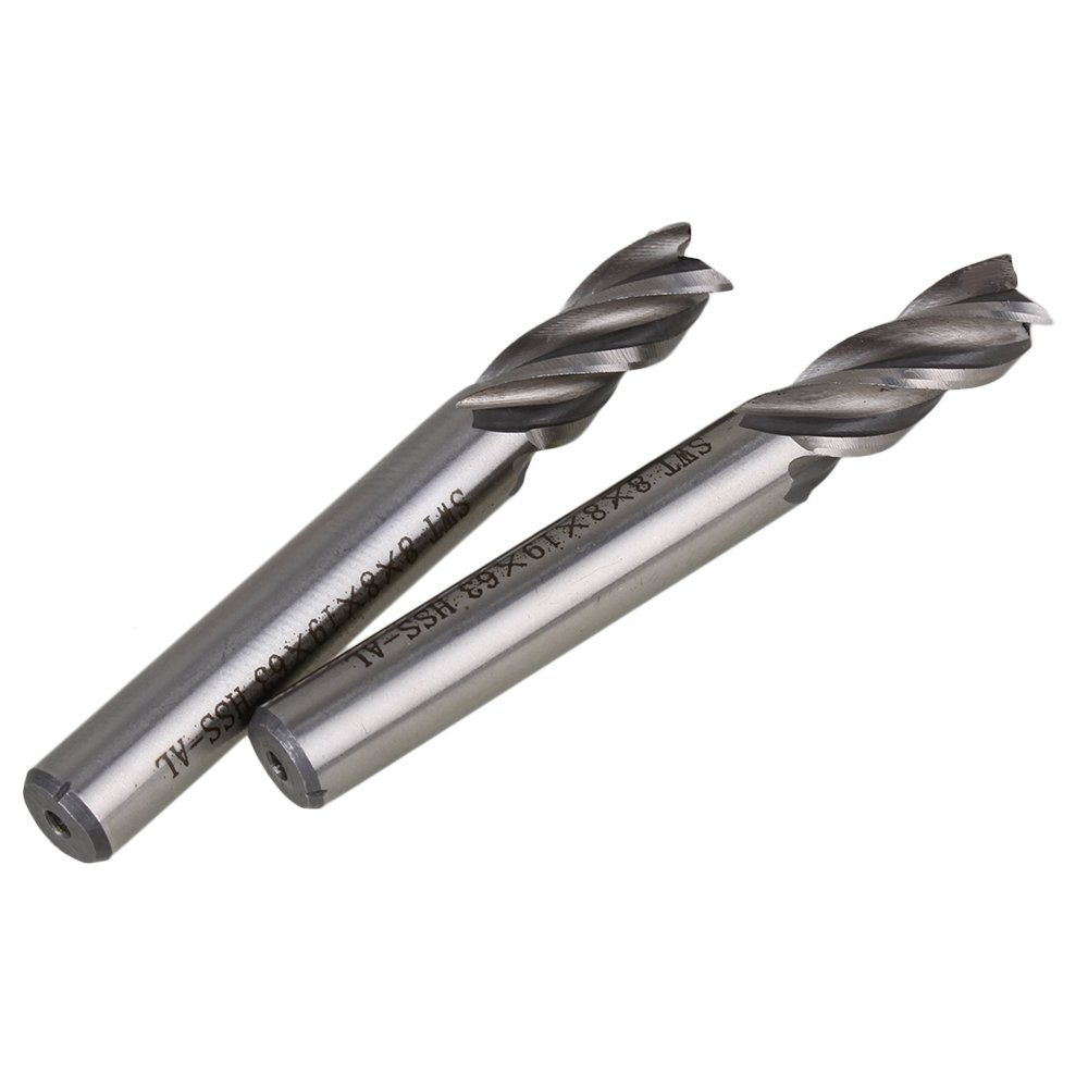 Solid Carbide High-Speed HSS 4 Flutes Straight Shank Milling Cutter End Mill 8mm Cutting Dia Pack of 2 3 4 x 1 4 cutter tool 12mm straight shank 8 flutes hss t slot end mill milling