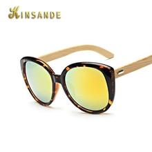 KINSANDE Ronda De Bambú Gafas de Sol Hombres Mujeres Marca Diseñador Gafas de Sol de Espejo Gafas de Moda Gafas Gafas de Sol UV400