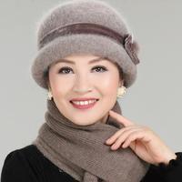 New Fashion Women Winter Hat Sets Floral Bonnet Wool Mixed Rabbit Fur Warm Hat Scarf Outdoor