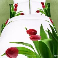 3D Red Tulip Green Leaf Bedding Sets Queen Size 100 Cotton Floral Printed Fabric Bed Linens