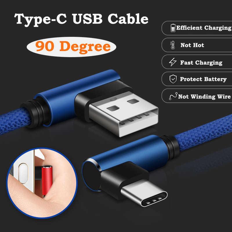 3A USB tipo C USB de 90 grados C Cable para Samsung Galaxy S10 S9 más Xiaomi mi 8 6 MAX 3 LG USB C de carga rápida Cable de datos