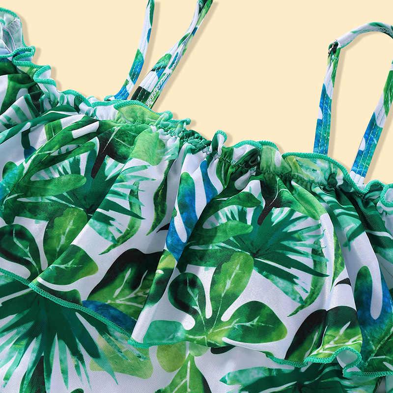 Familie Modus Moeder Dochter Aangrenzende Vrouwen Kid Een stuk Palm Boom Vleermuis pak Mannen Jongens Print Korte Broek Badmode