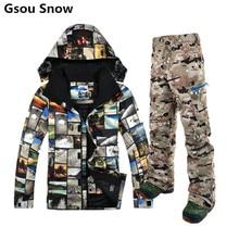 Gsou Snow winter ski suit for men ski jacket men snowboard pants esqui traje ski jas mannen mountain skiing clothing
