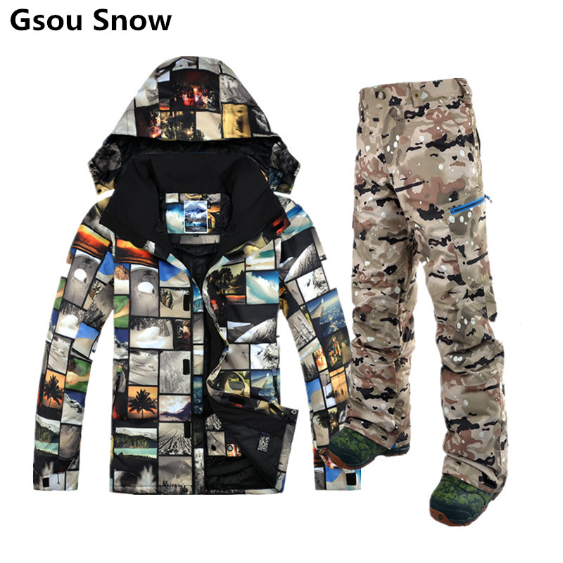 Gsou Snow winter ski suit for men ski jacket men snowboard pants esqui traje ski jas mannen mountain skiing clothing brand gsou snow technology fabrics women ski suit snowboarding ski jacket women skiing jacket suit jaquetas feminina girls ski