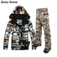Traje de esquí de invierno para los hombres los hombres chaqueta de esquí gsou snow jas mannen pantalones esqui snowboard traje de esquí de ropa de esquí de montaña