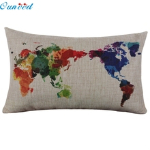 Ouneed Happy home Throw Pillow case personalized pillowcase Linen Square Throw Flax Pillow Case Decorative Cushion