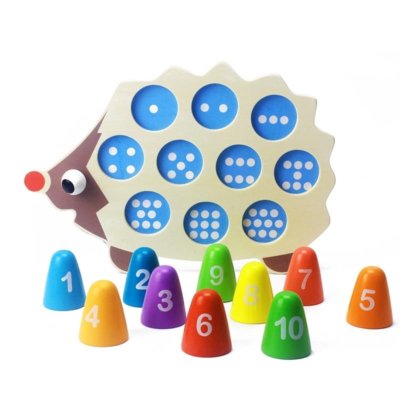 color montessori Dental House Educational Wooden Montessori Toys Math Toy Cartoon Colorful Hedgehog montessori materials math