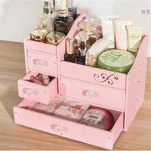 Decorative Wooden Jewelry Box Creative DIY Waterproof PVC Drawer Storage  Box Wood Makeup Organizer Cosmetics Storage Box
