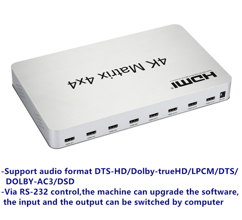 T 4K2K 3D HDMI Matrix Switch Switcher 4X4 IRRS232 Control Male Connector DTSAC3DSD Power Supply For HDTV Display Free Shipping (3)