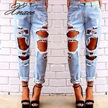 Sexy Women Destroyed Ripped Distressed Slim Denim Pants Jeans Trousers