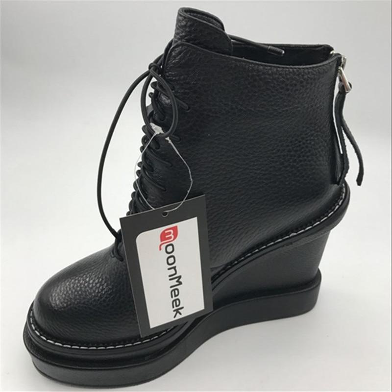 MoonMeek stile dolce solido lace up caviglia donne stivali in vera pelle rotondo toe scarpe partito con zeppe tacchi alti - 6