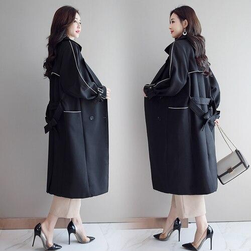 Manteau Cardigan Feminino Pour Vent Coupe Femininos vent coat Élégant Casacos bleu Pardessus Casaco Femme Trench Femmes Noir Long De H2IWEYD9